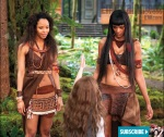 Amazonians Senna (Tracey Heggins) and Zafrina (Judith Shekoni) come face to face with Renesmee (Mackenzie Foy)
